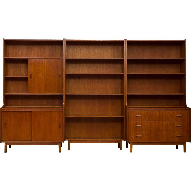 Vintage danish 3 units bookshelves system with 2 desktops in teak 1970s