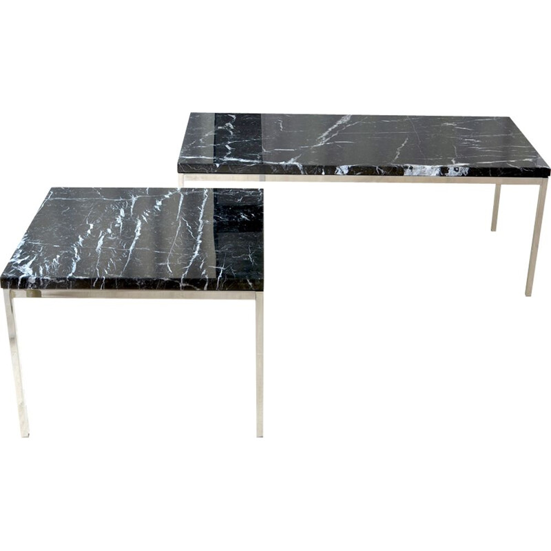 Pair of vintage coffee tables by Florence Knoll in marble 1950