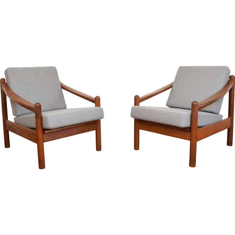 Set of 2 vintage armchairs in teak Denmark 1960s