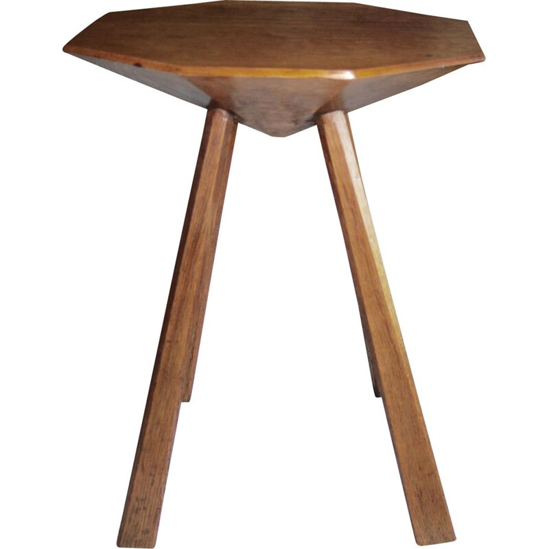 Vintage stool in oak anthroposophic Rudolphe Steiner Germany 1930s