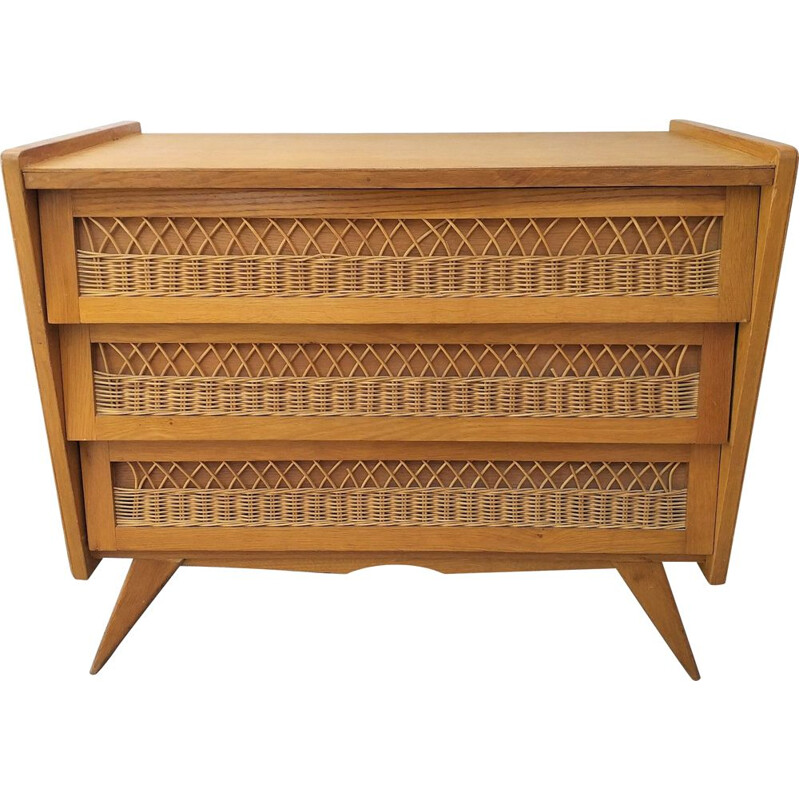 Vintage 1950 rattan chest of drawers