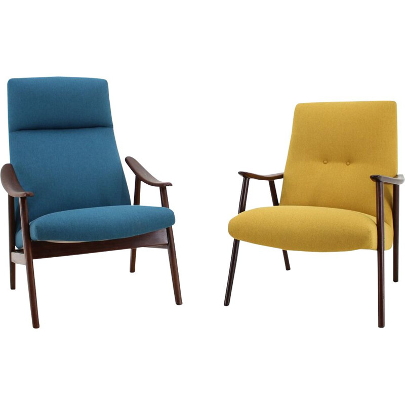 Set of 2 vintage bleu and yellow Armchairs 1960s