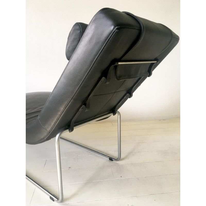 Admirable Vintage Lounge Chair By Rolf Benz In Black Leather And Metal 1980S Pabps2019 Chair Design Images Pabps2019Com
