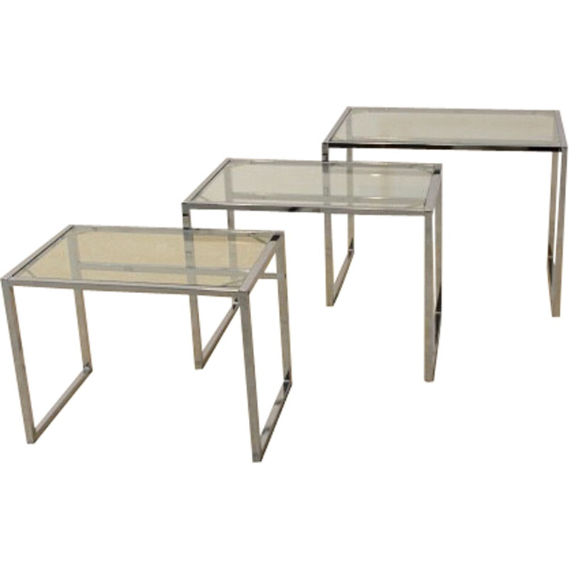 Set of 3 Ikea Swedish nestling tables in chrome and glass - 1960s