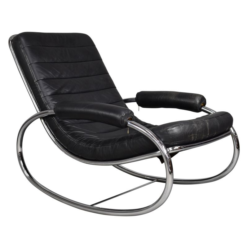 Phenomenal Italian Vintage Rocking Chair In Black Leather Gmtry Best Dining Table And Chair Ideas Images Gmtryco