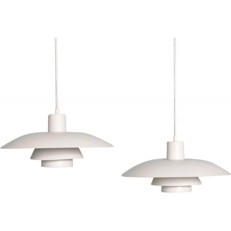Pair of vintage PH43 pendant lamps for Poulsen in white metal 1950s