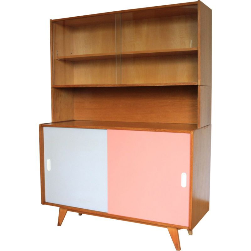 Vintage U470 cabinet for Interier Praha in wood and glass 1960s