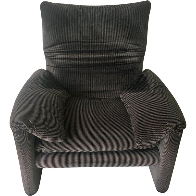 Vintage Maralunga armchair for Cassina in grey fabric 1970s