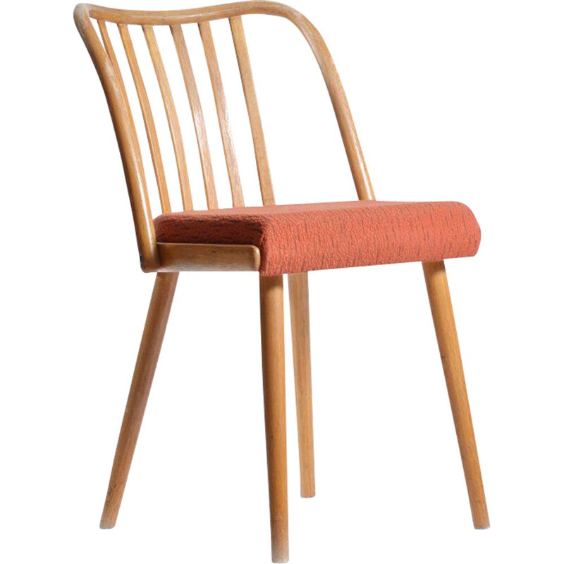 Vintage chair for Ton in bentwood and fabric 1960s