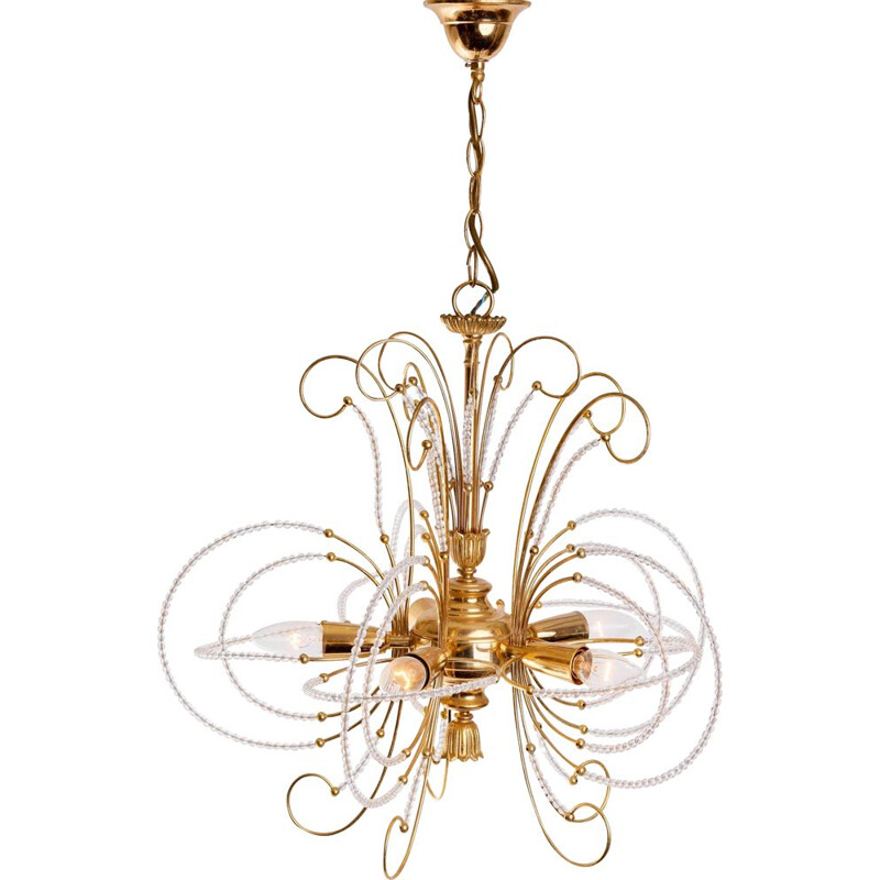 Vintage gold-plated glass chandelier