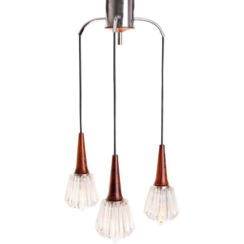 Vintage pendant lamp in glass and rosewood