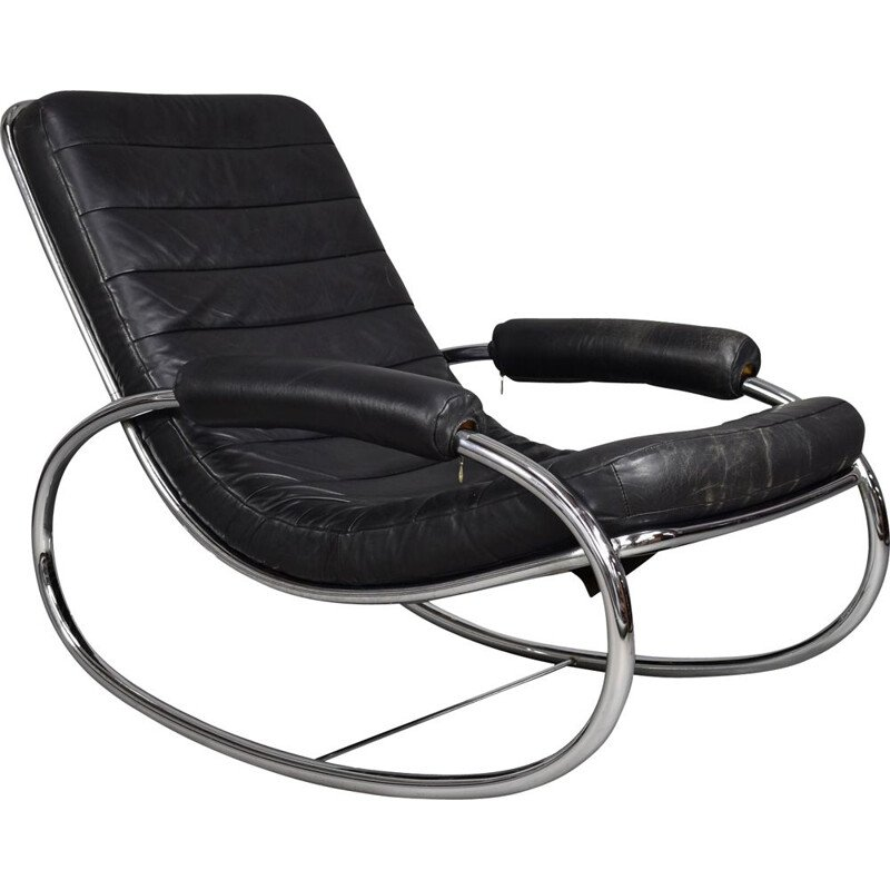 Italian vintage rocking chair in black leather