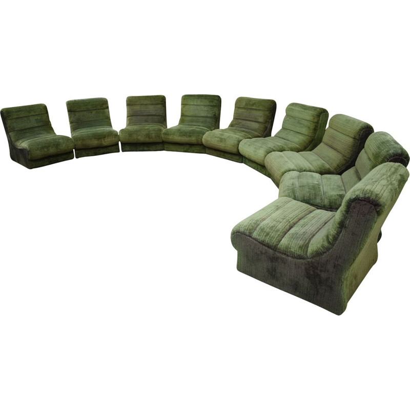 Vintage Italian sectional sofa in green plush