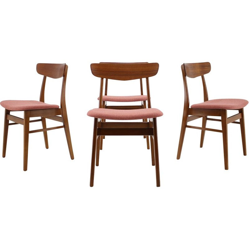 Set of 4 vintage danish pink chairs in teakwood 1960s