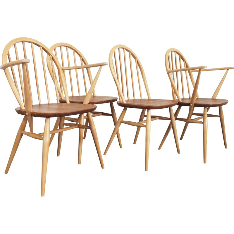 Set of 4 vintage chairs for Ercol in elmwood and beechwood 1960s