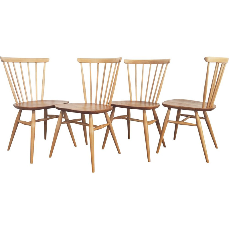 Set of 4 vintage dining chairs Windsor Bow Top by Lucian Ercolani for Ercol, 1960s