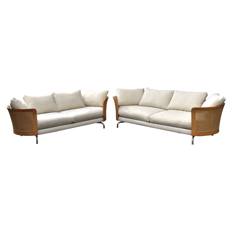 Pair of vintage italian sofas for Giorgetti in white fabric and rattan 1980s