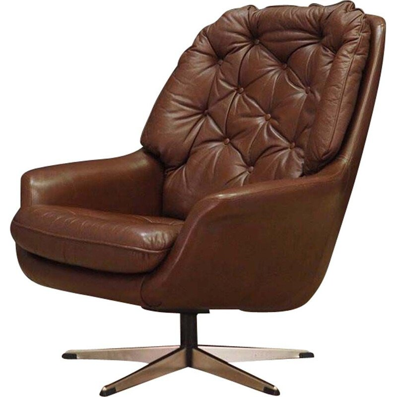 Vintage Danish armchair in leather from the 60s