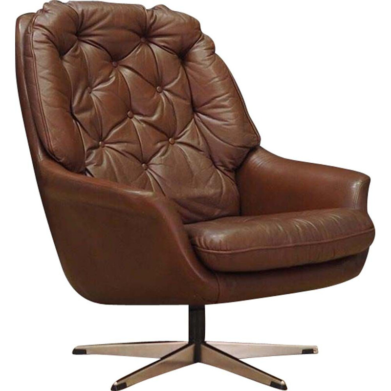 Vintage danish armchair in brown leather 1960s