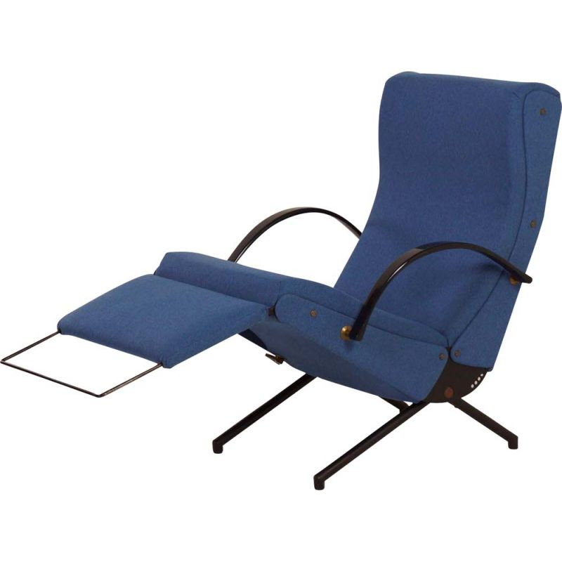 Vintage P40 armchair for Tecno in blue fabric and metal 1950s