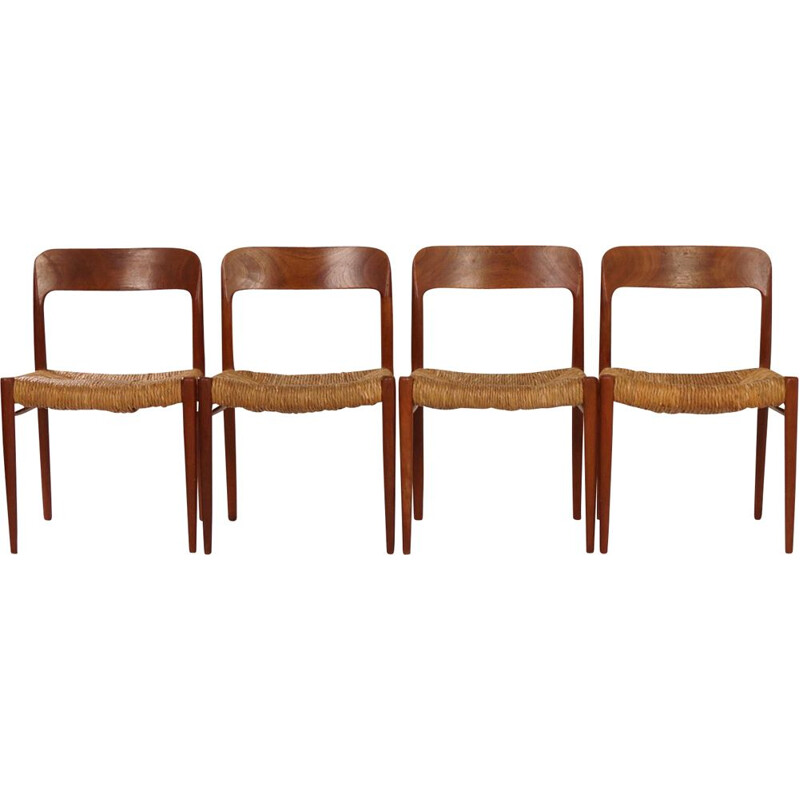 Set of 4 vintage danish chairs model 75 for JL Møller in teakwood 1950s