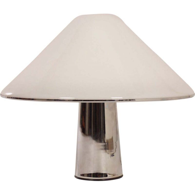 Vintage Mushroom lamp by Guzzini in white metal 1970s