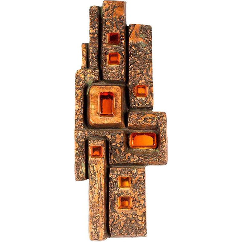Vintage german brutalist wall lamp in resin 1960s
