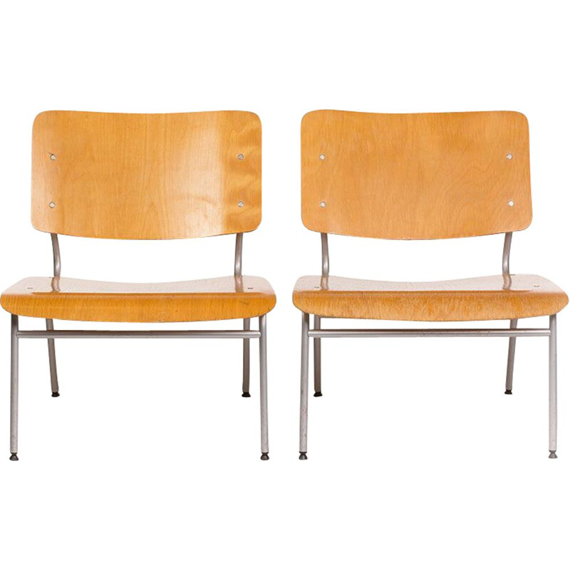 Pair of vintage chairs for IKEA in molded plywood and metal frame 1970s
