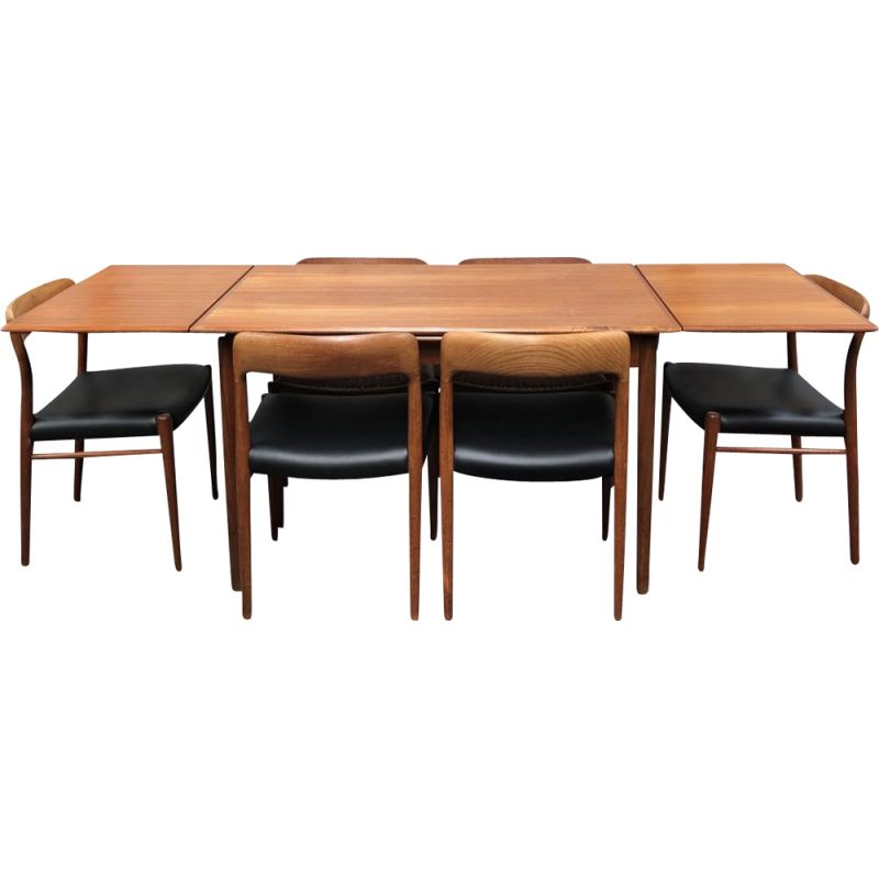 Vintage dining set with model 75 chairs for Møller in teak and leatherette 1950s