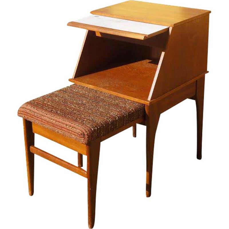 Vintage entry piece of furniture for Chippy in teak and tweed 1960