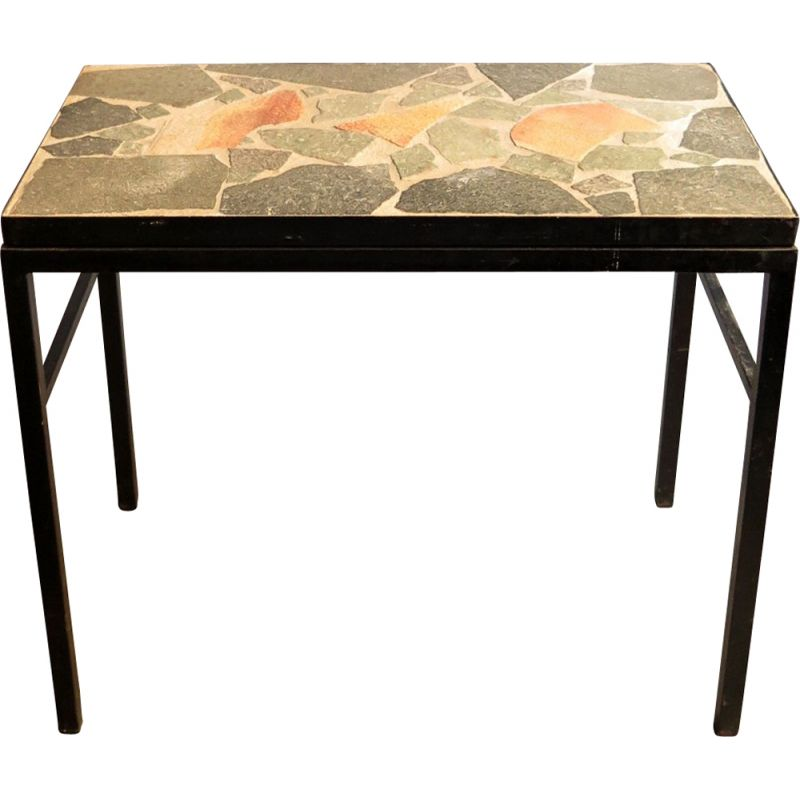 Vintage german side table in stone and black lacquered metal 1970s