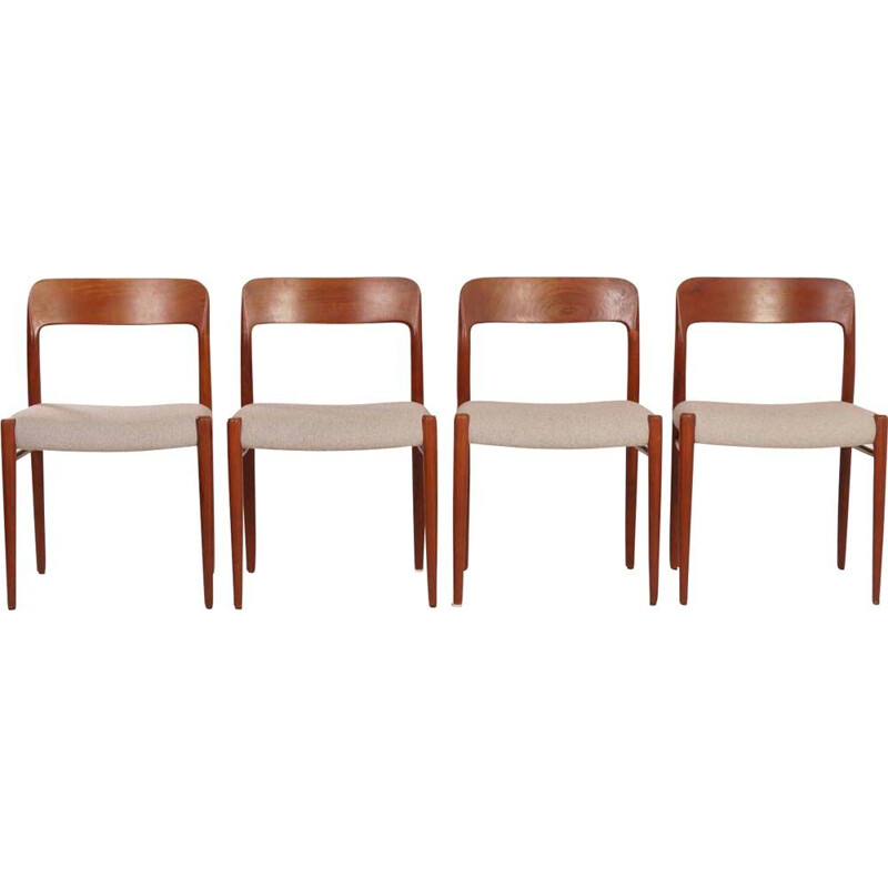 Set of 4 vintage danish chairs for JL Møller in teak and fabric 1950s
