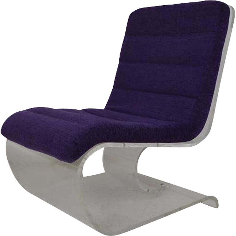 Vintage scandinavian purple armchair in plexiglas 1970