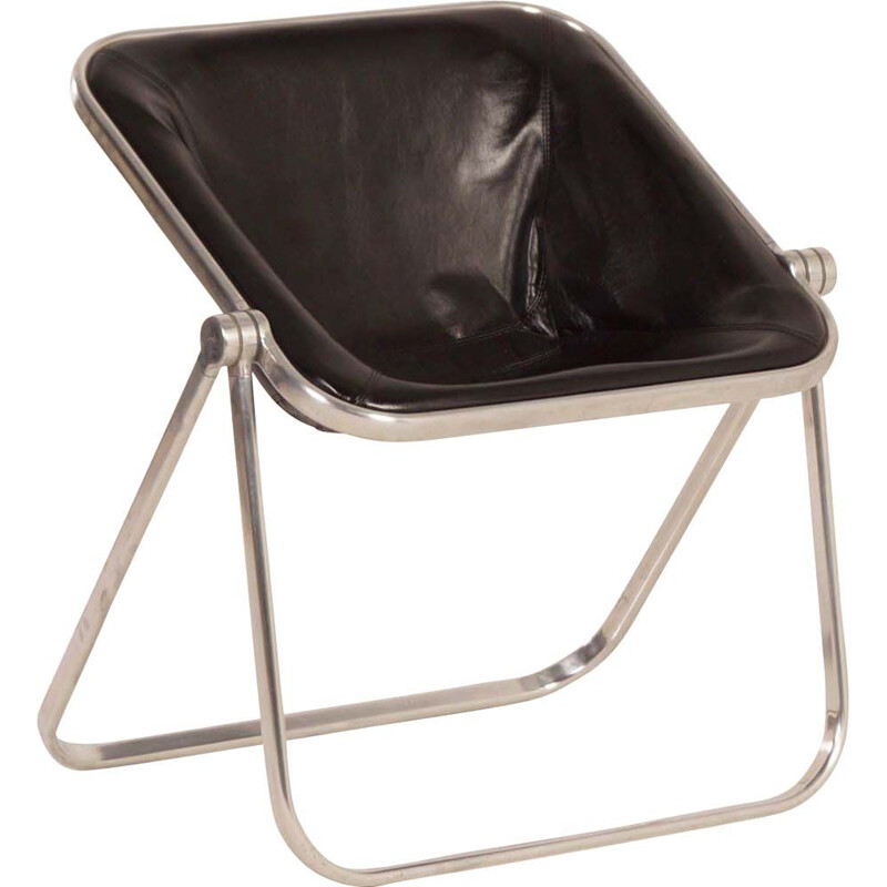 Vintage Plona armchair for Castelli in black leather 1960s