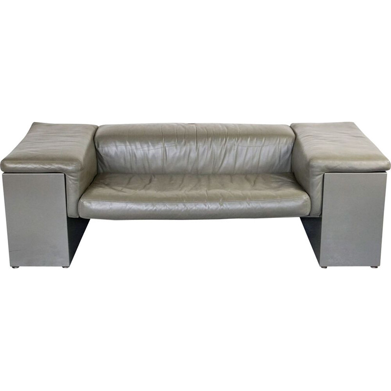 Vintage 2-seater sofa grey leather Brigadier by Cini Boeri for Knoll