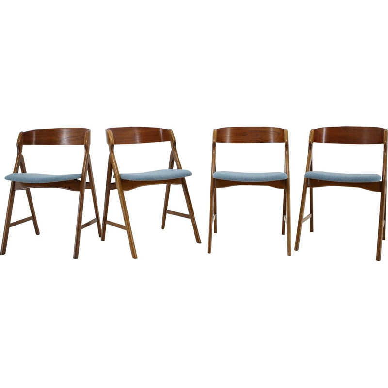 Set of 4 vintage dining chairs in teak by Henning Kjærnulf 1960s