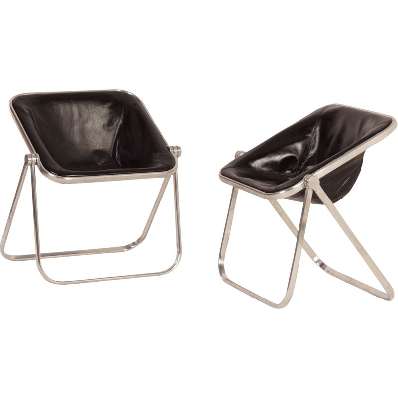 Pair of vintage Plona Chairs for Castelli in black leather 1960s