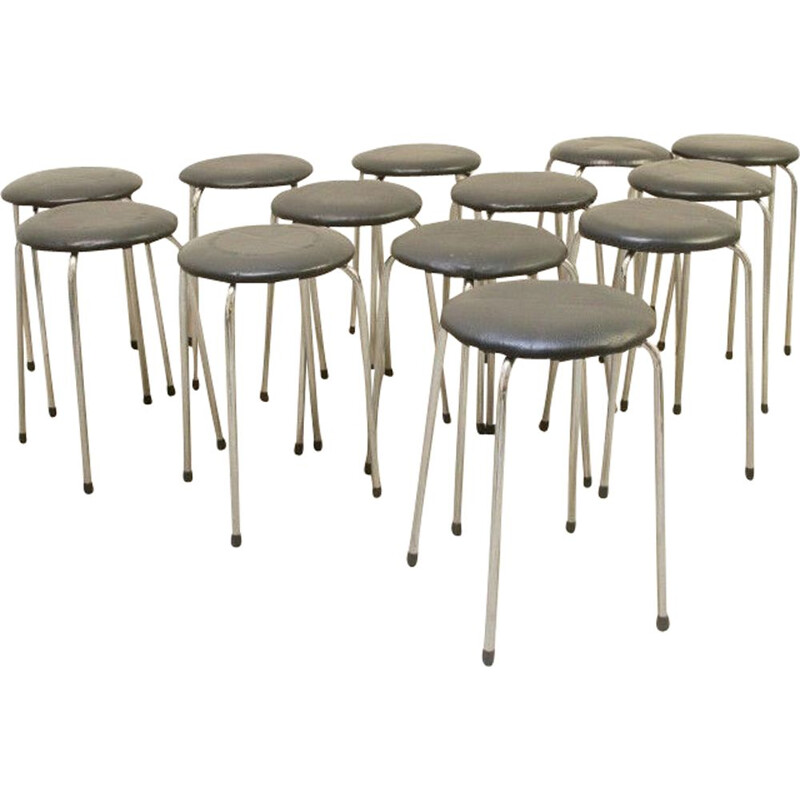 14 vintage stools chrome and faux leather Belgium 1970s