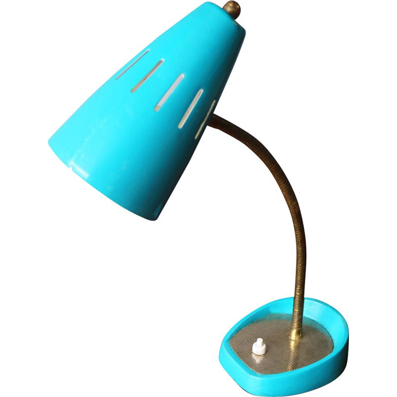 Vintage desk lamp blue Belgium 1960s