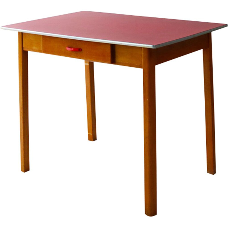 Vintage kitchen table in red formica & beech England 1960s