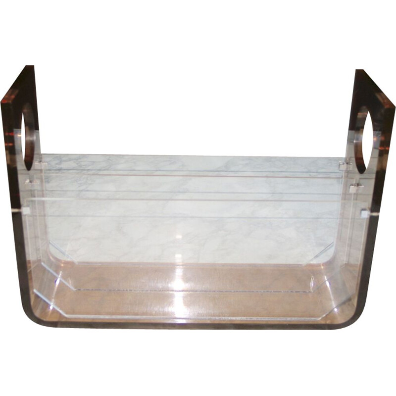 Vintage plexiglass magazine rack by Michel Dumas 1970