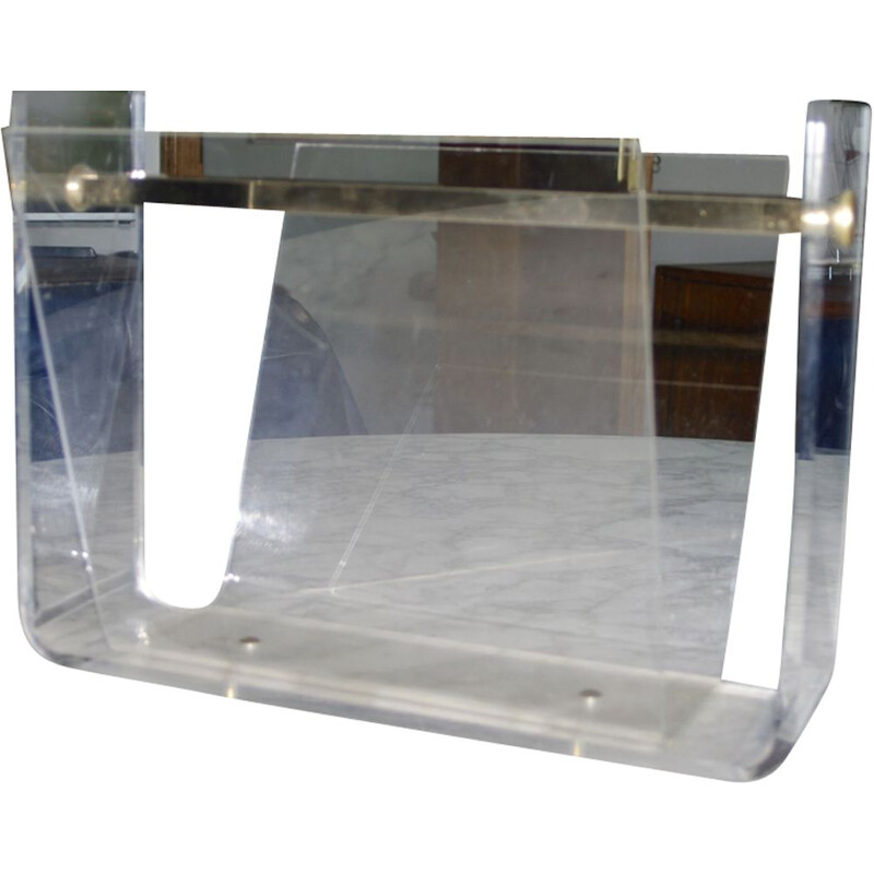 Vintage Plexiglas magazine rack by David Lange for Roche Bobois 1970