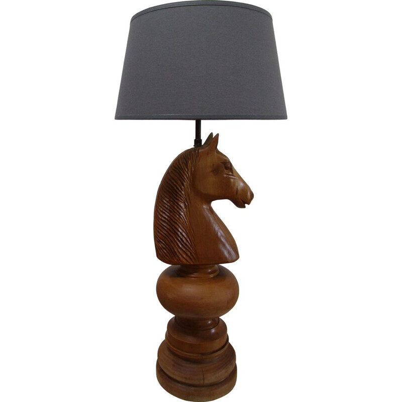 Vintage wooden lamp turned horse figure