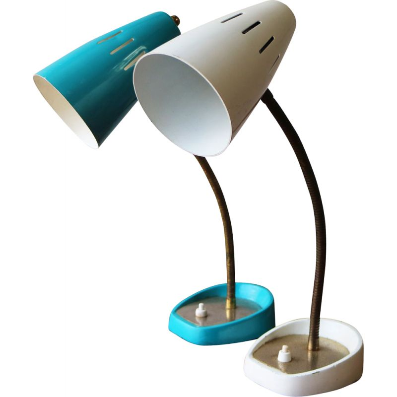 Pair of bleu and white vintage desk lamps 1960