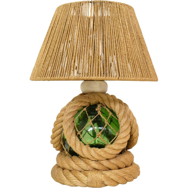 Vintage french lamp in braided rope and glass 1950