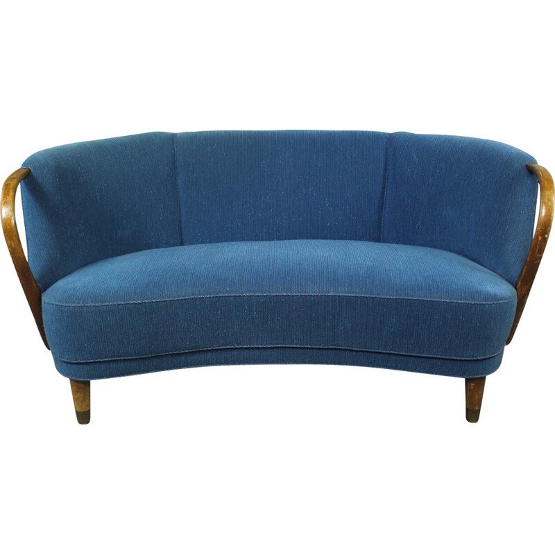 Vintage danish Banana Sofa in blue fabric and wood 1950s