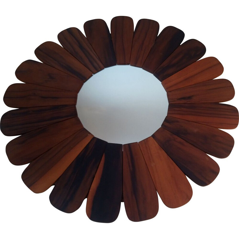 Vintage flower miror in wood 1970
