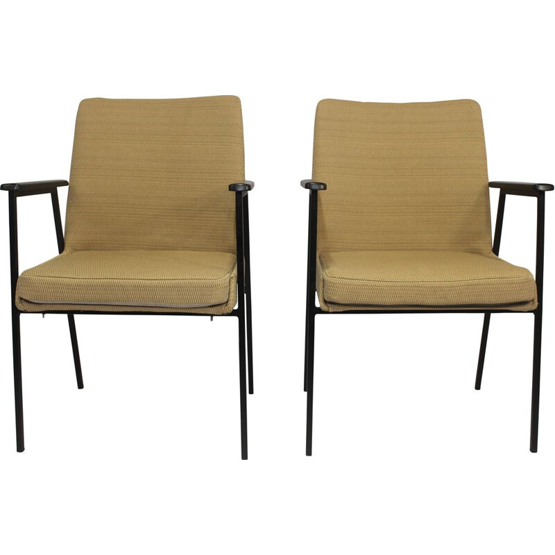 Pair of vintage german armchairs for Mauser in yellow fabric and steel 1960