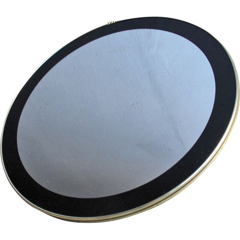 Vintage round mirror with black frame 1960s