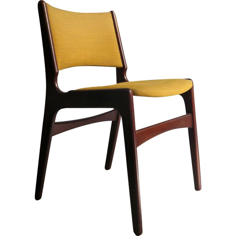 Vintage dining chair in yellow-green fabric Denmark 1960